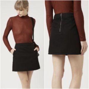 NWT Topshop clean cut black denim moto mini skirt